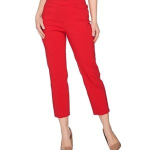 SUSAN GRAVER red stretch capri pants size 8